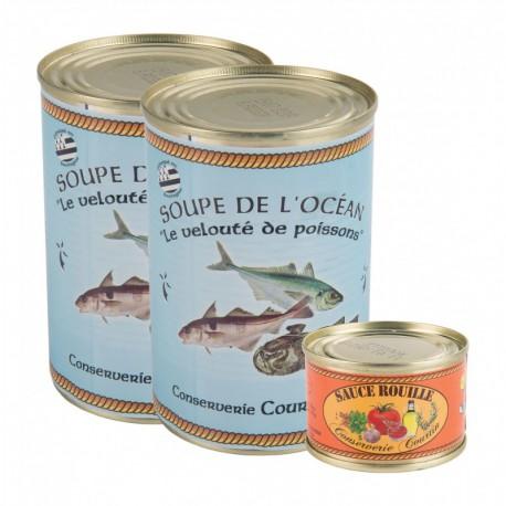Pack of 2 ocean fish soups (400 gr) + 70 gr Rouille sauce