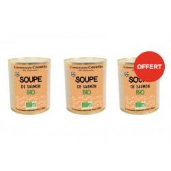 2 soupes de saumon bio achetées, la 3 ème OFFERTE