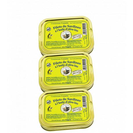 Lot 3 filets de sardines à l' huile d'olive bio