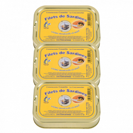 Lot de 3 filets de sardines moutarde et miel