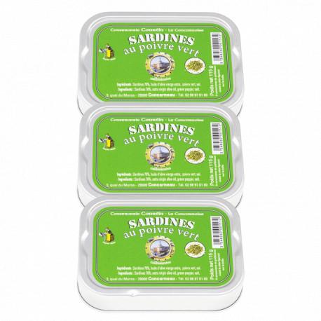 Lot de 3 sardines au poivre vert
