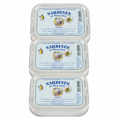 Lot de 3 sardines au muscadet