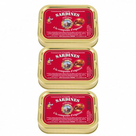 Lot de 3 sardines à la compotée d'oignons