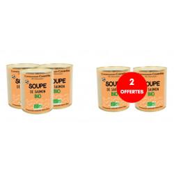3 soupes de saumon bio achetées, 2 offertes
